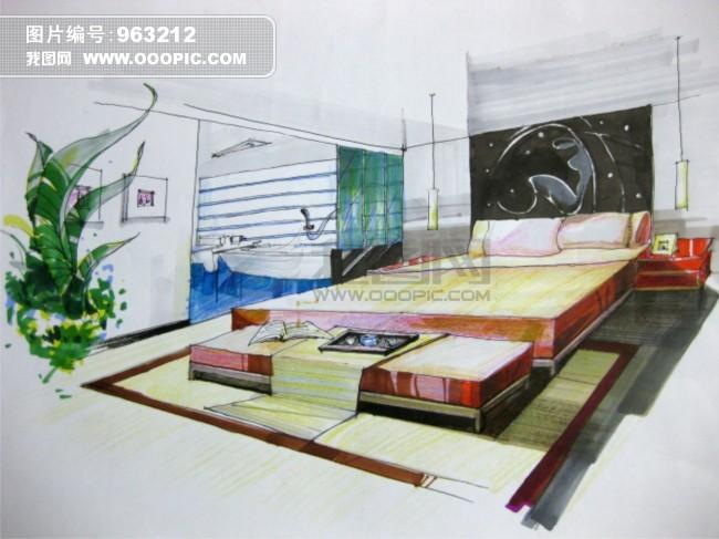 家装 透视 手绘 现代 马克笔