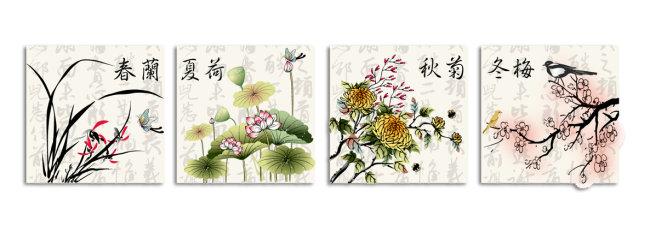 中国风创意手绘插画兰花