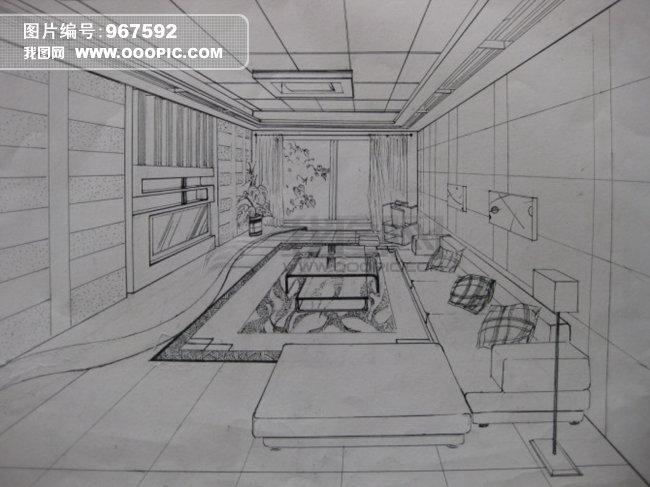 设计 家装 透视 手绘 室内客厅