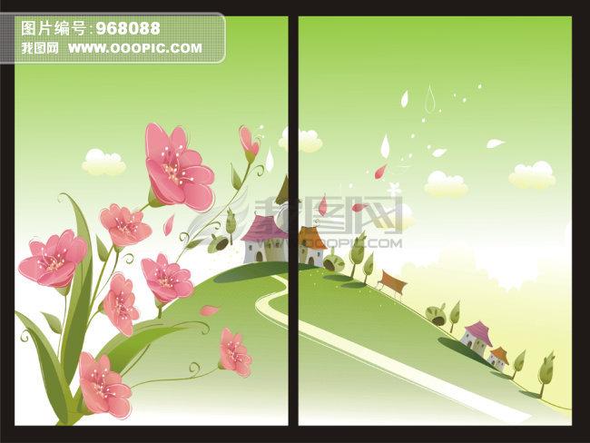 卡通风景无框画模板下载(图片编号:968088)