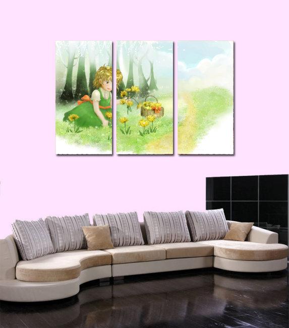 无框画 卡通 手绘模板下载 无框画 卡通 手绘图片下载 客厅 书房无框