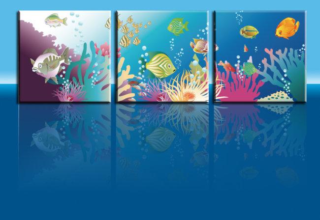 海底世界无框画模板下载