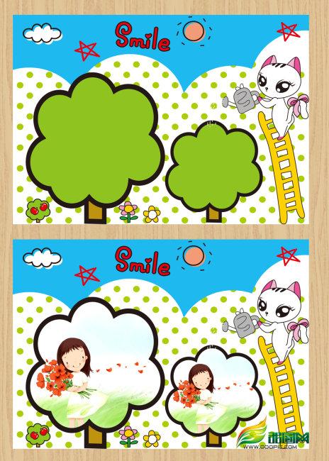 可爱小树儿童相册模板