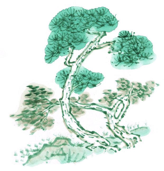 幼儿水墨画松树