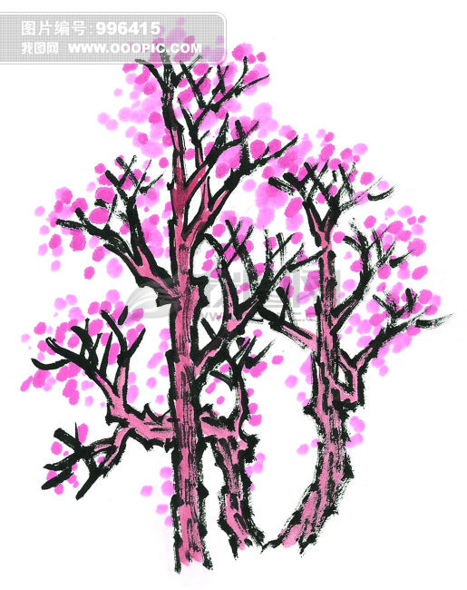 手绘粉色花朵植物树木插画图片(编号:1082955; 中国传统国画;; [jpg]