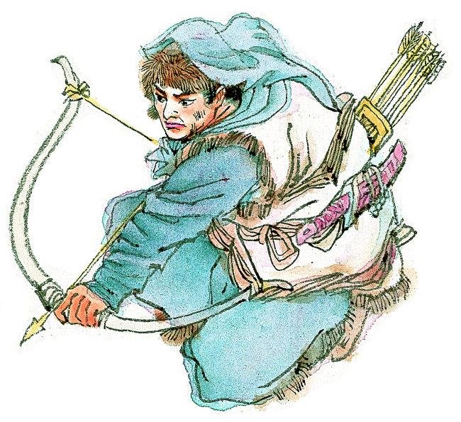 人物插画 弓箭 头巾 弓箭 武士