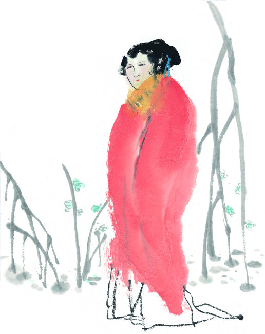 穿着红衣的古代美女 美女插画