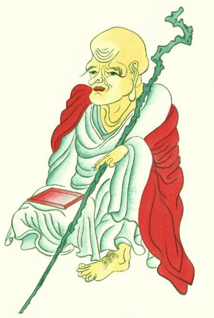 拿着拐杖的仙翁 人物插画 不穿鞋子的仙翁