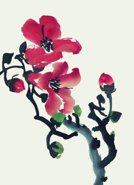 梅花简笔画彩色