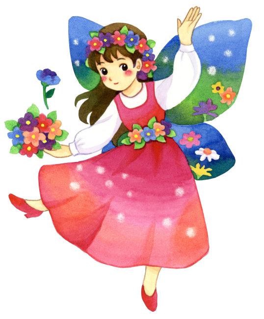 花朵上跳舞的小女孩简笔画