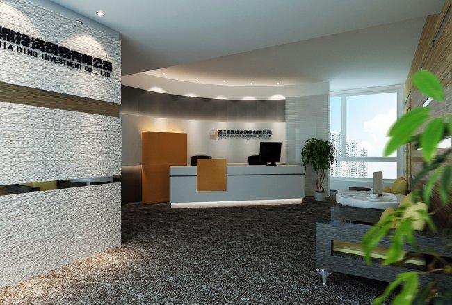 现代简约办公室3d设计效果图
