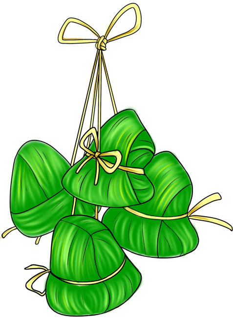 粽子卡通素材 四个绿色物品