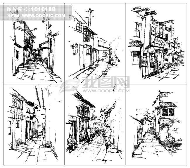 山水风景画 > 苏州古镇街道小巷速写矢量线条画图片