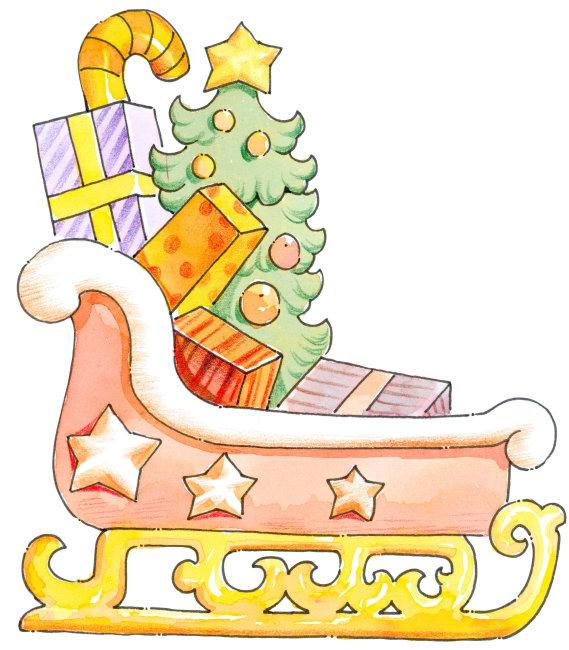 圣诞雪橇和礼物卡通插画