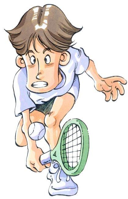 手绘绘画 图画体育运动 一个 男人运动员 手拿 球拍 弯腰 半蹲 黄褐色