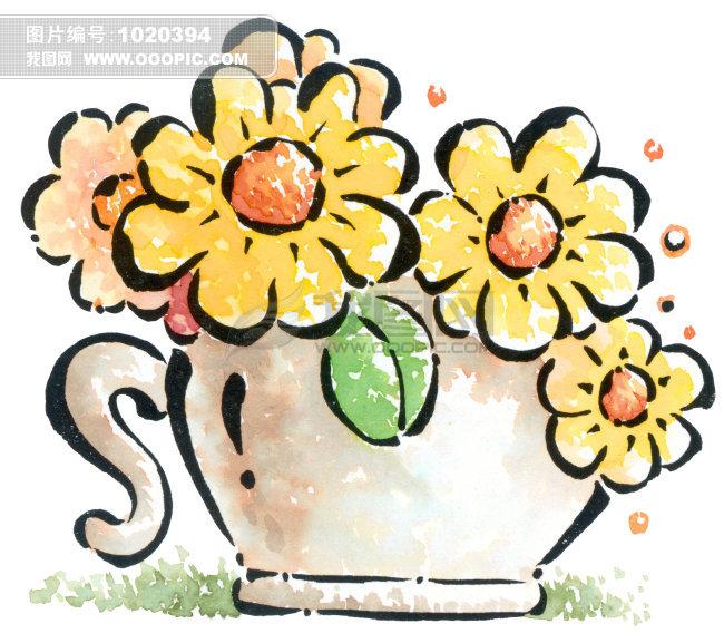 手绘花朵加花盆图片