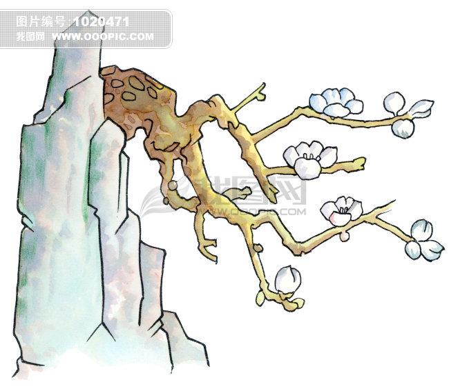 梅花手绘山石工笔画