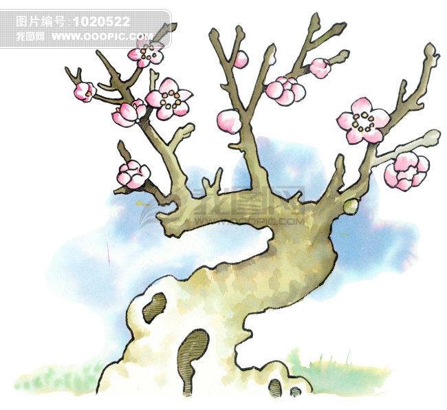 桃花树图片手绘彩色