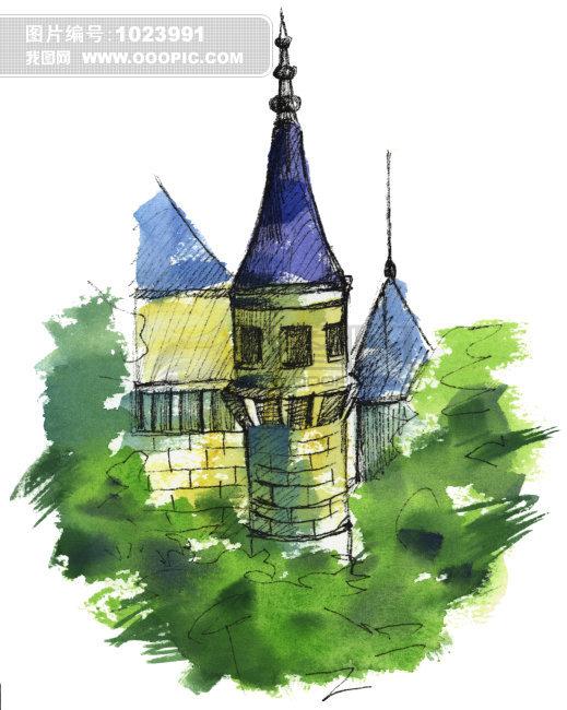 水彩乡村教堂插画