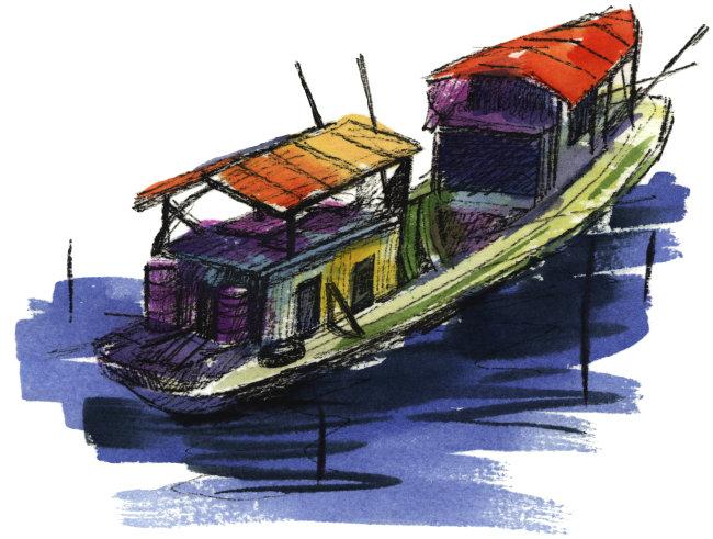 渔船手绘效果图