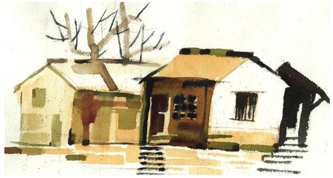 水彩彩色颜色色彩颜料 树木 住房 农舍 枯树 光秃 树枝 步梯 石梯