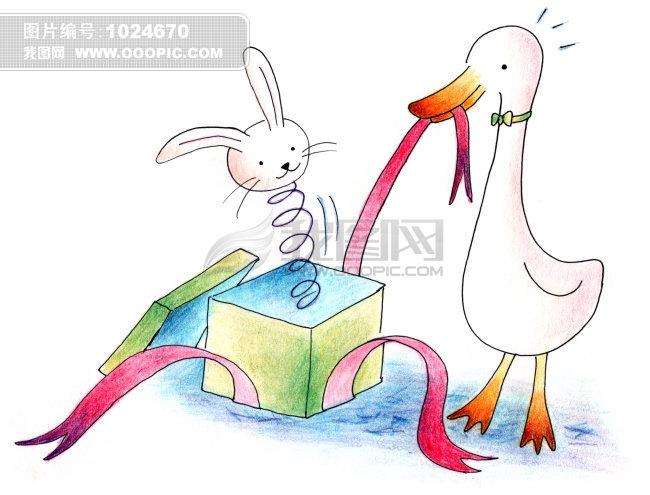 小白兔侧面卡通图片