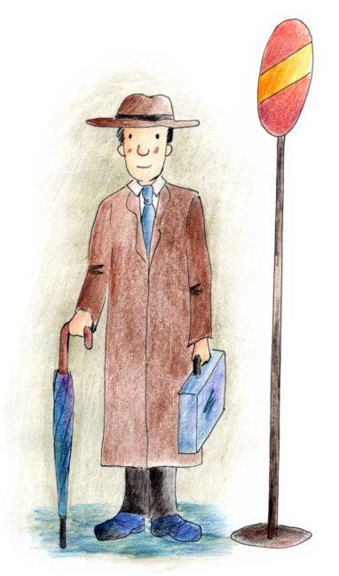 休闲 人物插画 漫画 想象 手绘 美式风格 男人 路灯 伞 公文包 正面