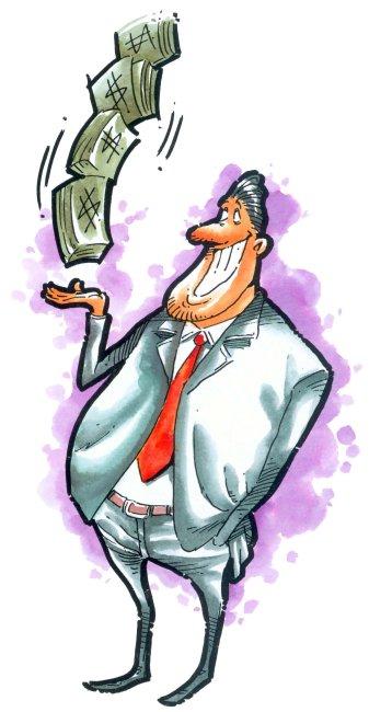 卡通人物插画 手托金钱的男人