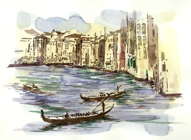 动漫 漫画 湖泊 建筑 城市 小船 白云 横图 彩色图片