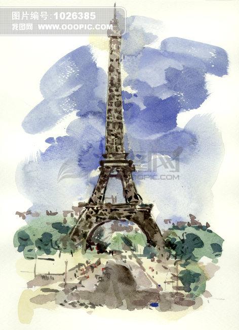 插画 绘画 艺术画 水墨画 风景画 卡通 动漫 漫画 建筑 高塔 巴黎铁塔