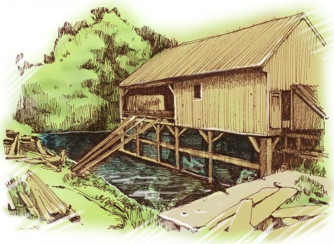 小木屋 东方艺术 东亚艺术 国画 中国画 传统绘画 插画 水彩 创意