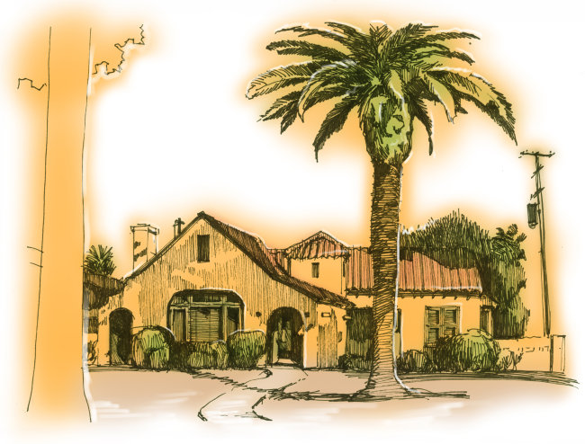 房屋和树建筑手绘