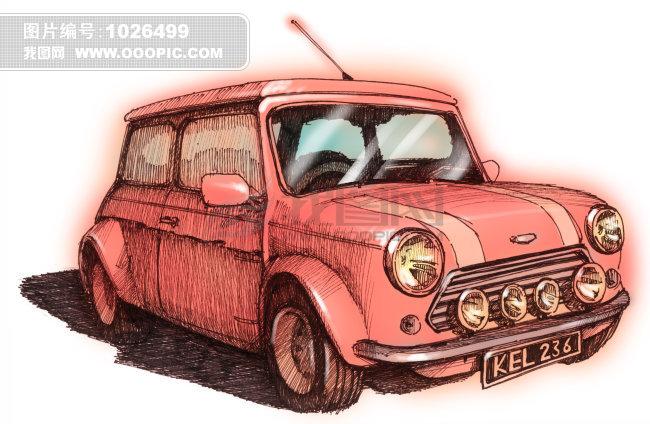 汽车彩色铅笔手绘