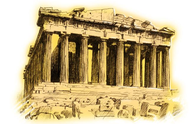 钢笔素描素材之古代建筑