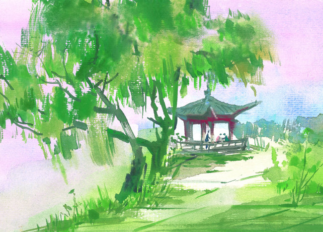 彩铅手绘小清新风景水彩画
