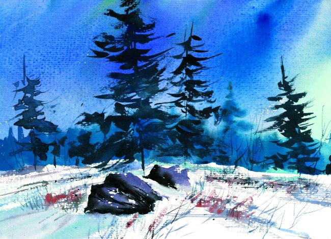 绘画 水墨画 艺术画 卡通 动漫 漫画 风景画 树木 树叶 石头 下雪