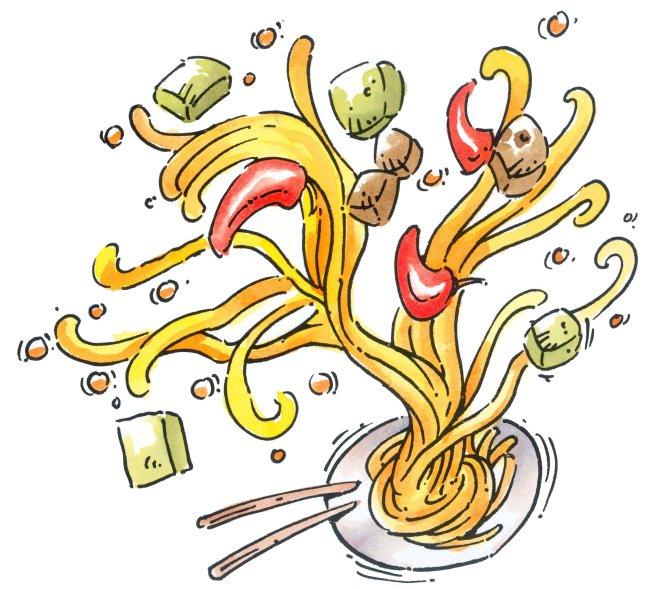 面食 精致西餐 食物插画
