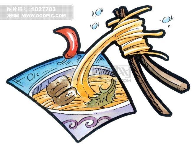 插画 面条 面食 筷子 食物 卡通 手绘 漫画 留白 简单背景 全景 近景