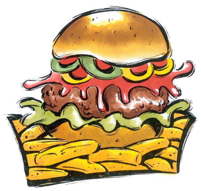 卡通 动漫 食物 食品 汉堡包 薯条 面包 方图 留白 彩色图片
