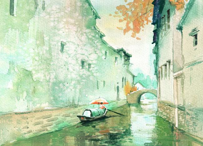 卡通 动漫 风景画 农村 乡村 村庄 秋天 小溪 天桥 雨伞 船只 小船