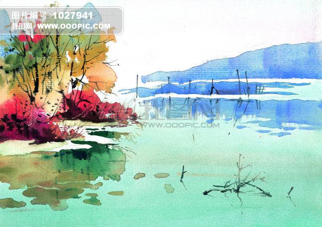 树 树枝 枯枝 乡野 写意 风景 插画 红色 抽象 意境 水 水中倒影 水草