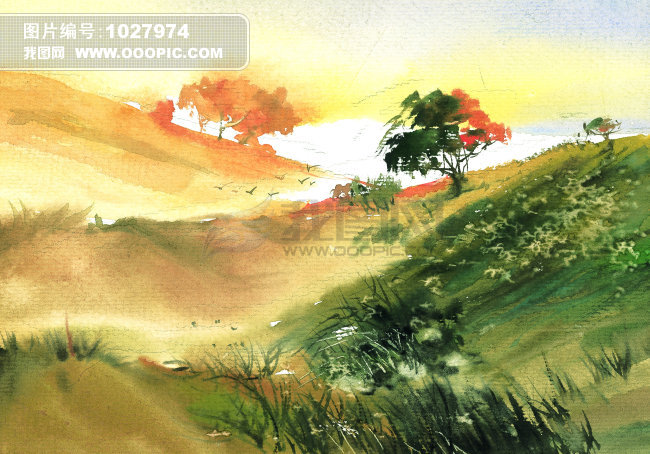 写意秋天乡村风景插画图片素材(图片编号:1027974)
