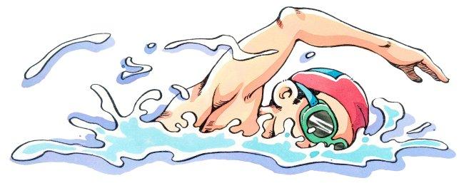 游泳运动员 手绘插画