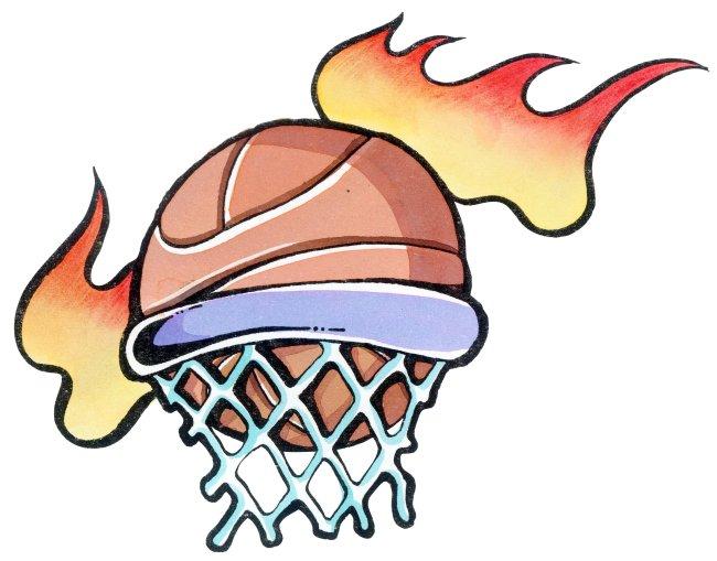 篮筐里的篮球 手绘插画
