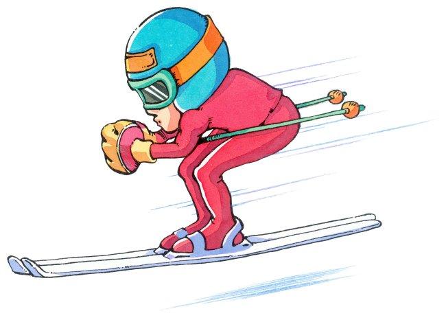 滑雪运动员 手绘插画