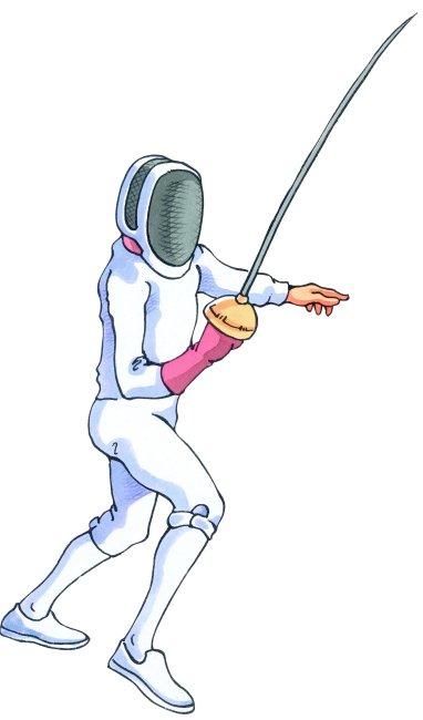击剑运动员 手绘插画