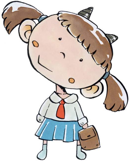 漫画 绘画 魔蝎座 山羊座 女孩 辫子 书包 红领巾 学生 竖图 留白