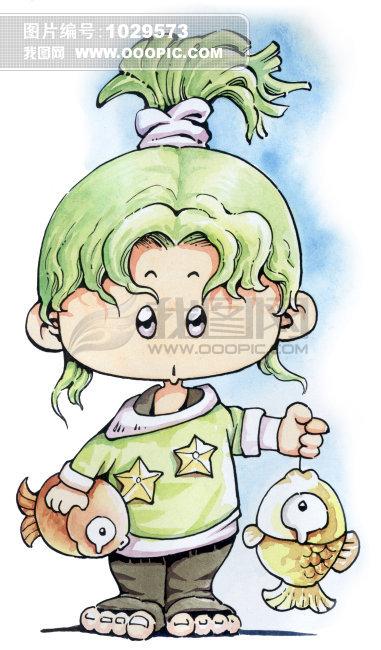 生肖插画 > 双鱼小女孩 星座插画  插画 手绘画廊 双鱼座绿色 小女孩