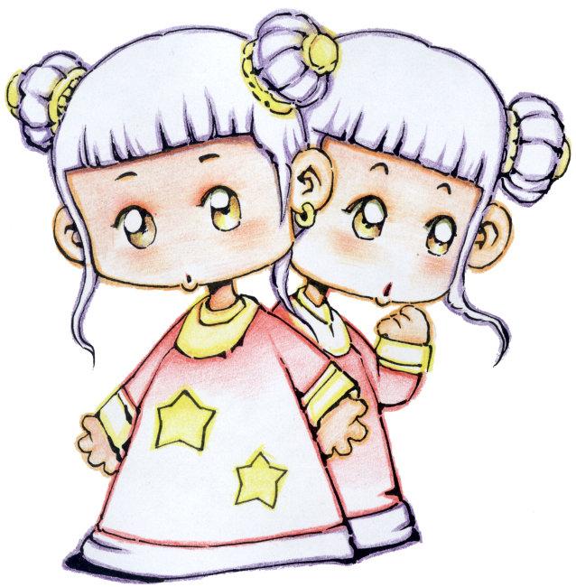 可爱女孩双子座 星座插画