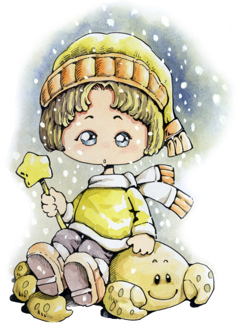 动漫 漫画 星座 天蝎座 蝎子 女孩 下雪 冬天 帽子 星星 围巾 竖图